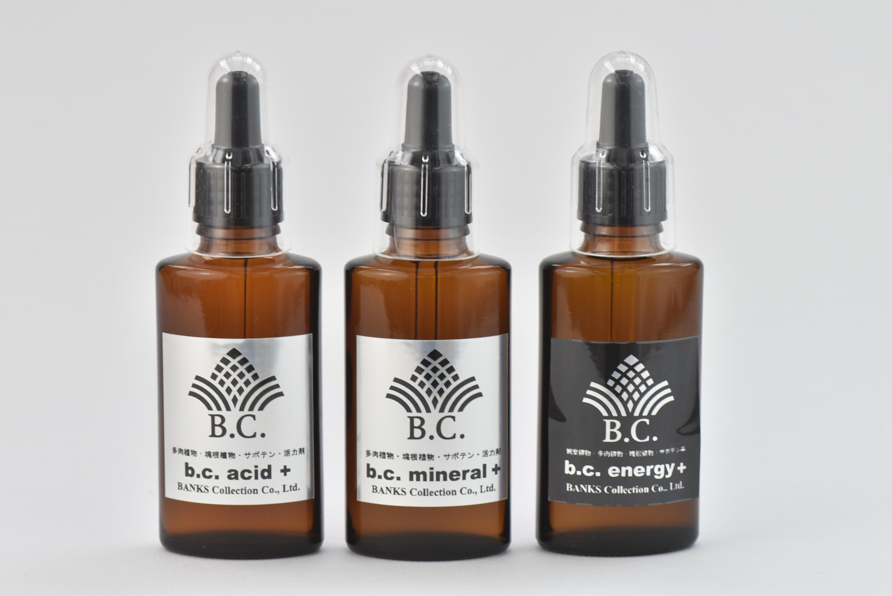 b.c.活力剤(b.c. acid+, b.c. mineral+, b.c. energy+)容量30ml、各1本計3本セット